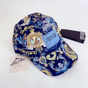 ⭕️ VERSACE JEANS Hat Cap Blue Versailles Print